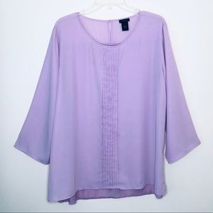 Ann Taylor Outlet | Lilac Pleated Front Blouse XL